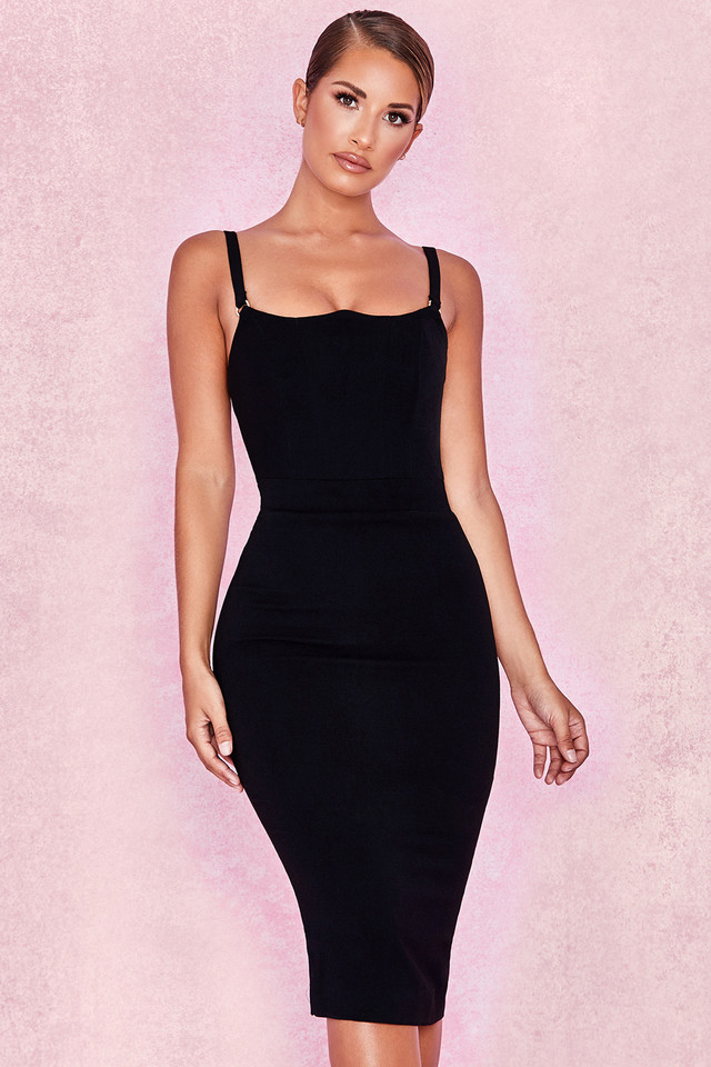 Tessa Black Crepe Bodice Dress