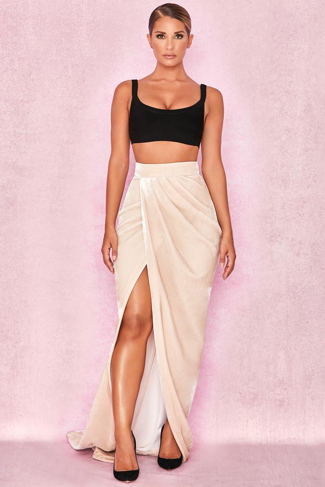Therina Champagne Velvet Thigh Split Maxi Skirt