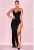 Emmeline Black Suedette Corset Maxi Dress