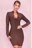 Lana Mulberry Zip Front Bandage Dress