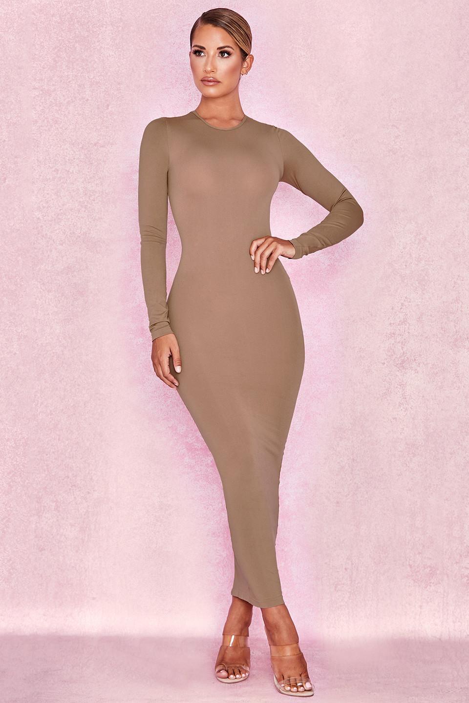 Lucia Tawny Brown Midi Length Knit Dress
