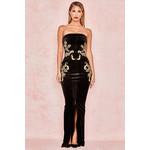 Athenea Black Velvet Embroidered Maxi Dress