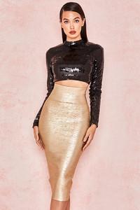 Michaela Gold Foil Bandage Super High Waisted Skirt