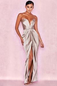 Sigourney Mink Satin Draped Front Maxi Dress