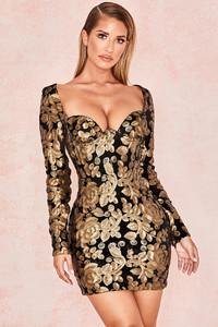 Silvaja Black Gold Velvet Mini Dress