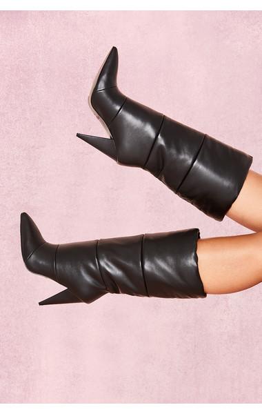 Phenomenon Black Leather Puffa Boots