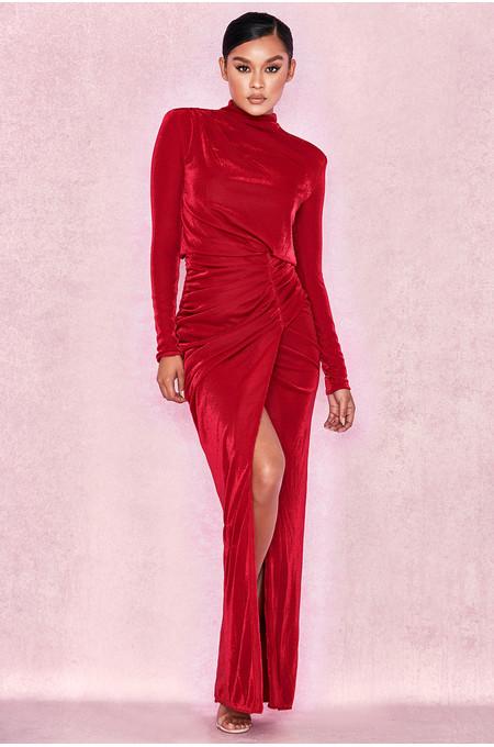 Gianna Red Shimmer Thigh Split Maxi