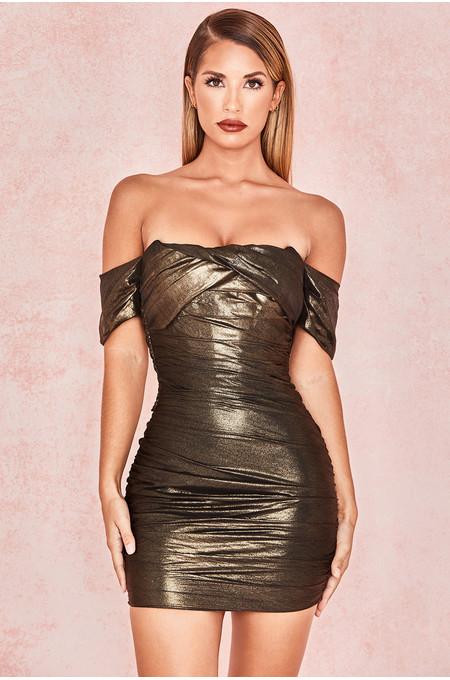 Ilaria Metallic Bronze Overlaid Chiffon Mini Dress