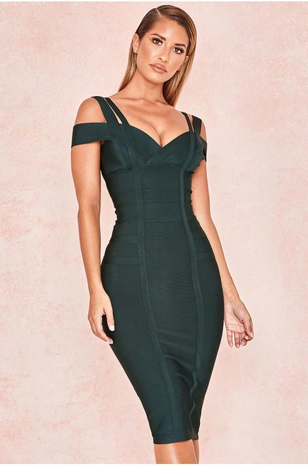 Mimi Evergreen Off Shoulder Bandage Dress