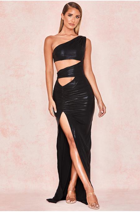 Ophyr Black High Shine Cut Out Maxi Dress