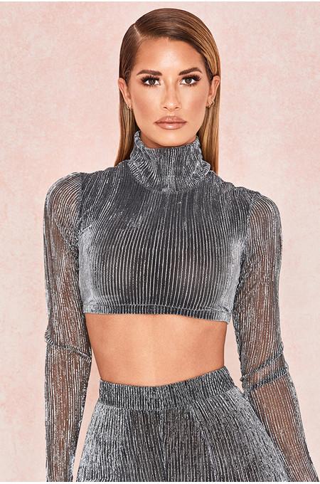Tamara Silver Lurex Cropped Top