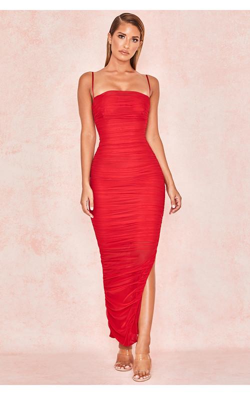 Fornarina Red Organza Mesh Maxi Dress