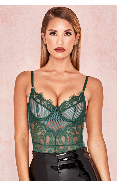 'Nadia' Green Lace Bodysuit