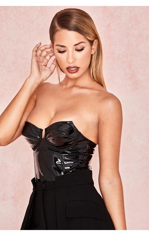 Ottavia Black Patent Vinyl Bodysuit