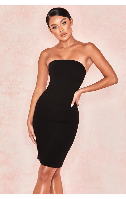 Rinah Black Strapless Stretch Crepe Mini Dress