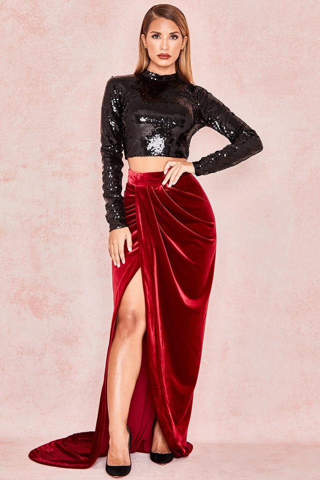 Therina Wine Velvet Thigh Split Maxi Skirt