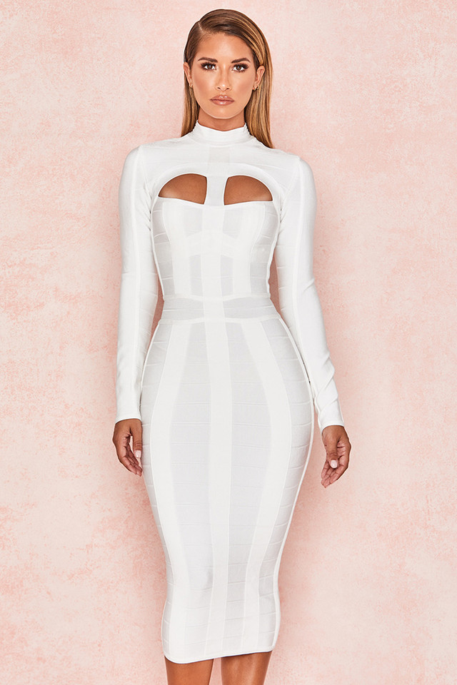 Azariah White Cut Out Long Sleeve Bandage Dress