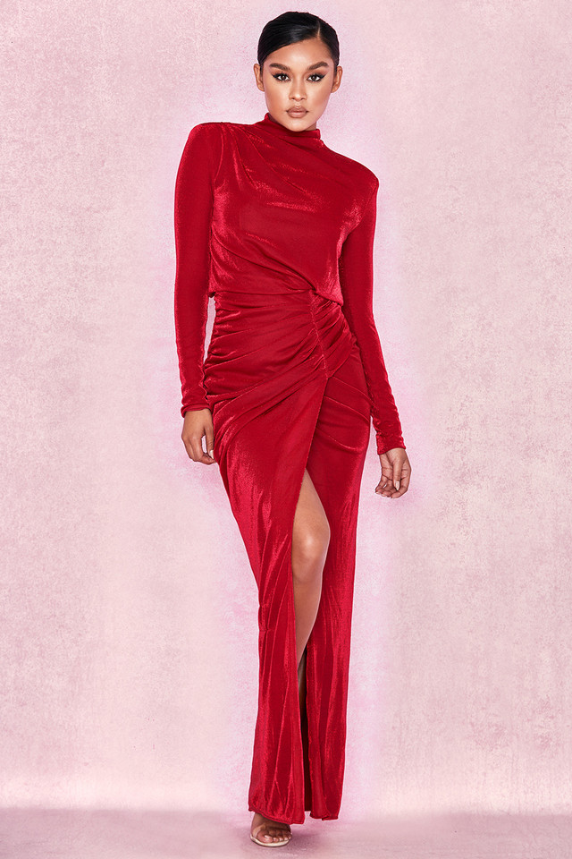 Gianna Red Shimmer Thigh Split Maxi