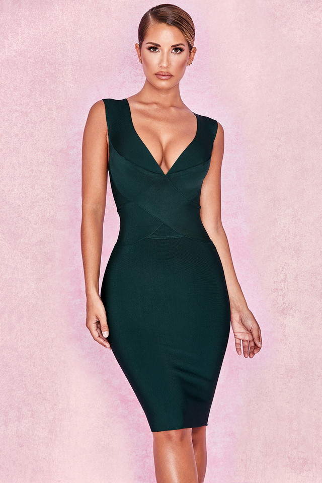 Ginevra Evergreen Cross Front Bandage Dress