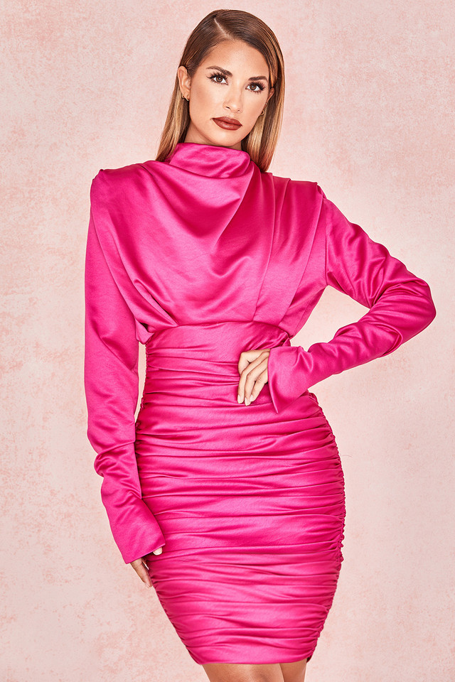 Giorgiana Hot Pink Satin Draped Mini Dress