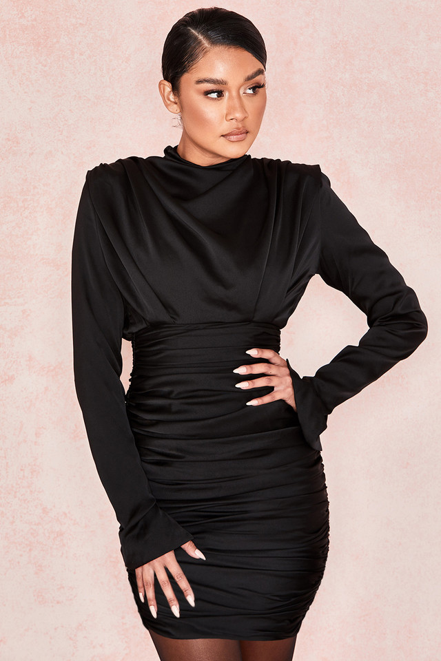 Giorgiana Black Satin Ruched Mini Dress