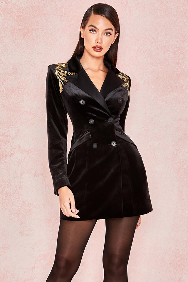 Giselle Black Velvet Blazer Mini Dress