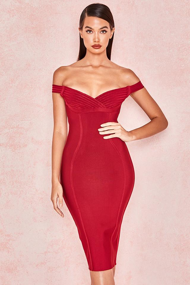 Josephina Claret Bardot Off Shoulder Bandage Dress