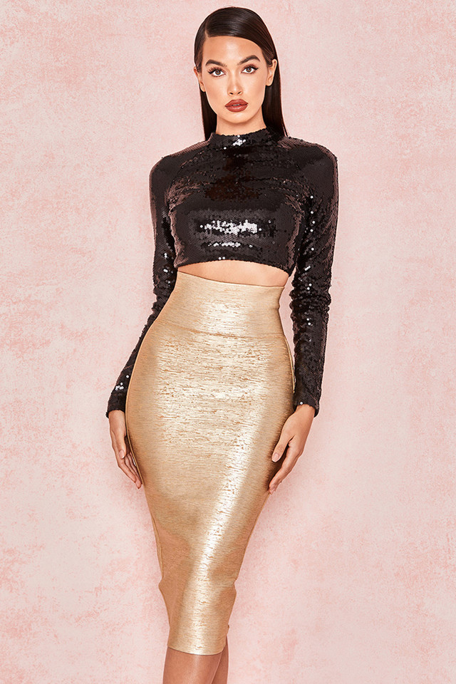 Michaela Gold Foil Bandage Super High Waisted Skirt