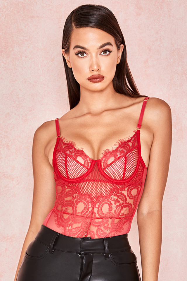 Nadia Red Lace Bodysuit