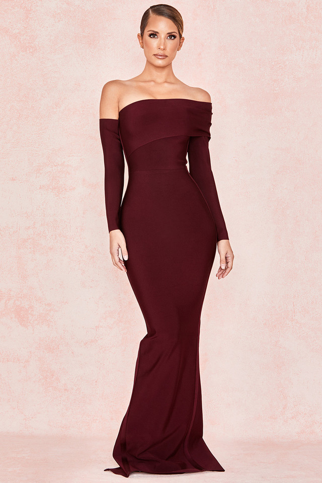 Nalani Wine Draped Shoulder Maxi Bandage Dress