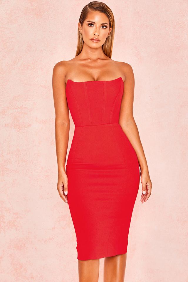 'Niaz' Red Stretch Crepe Strapless Bodice Dress