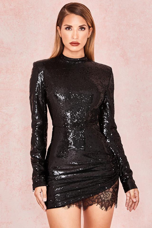 Phoebe Black Sequinned Mini Dress