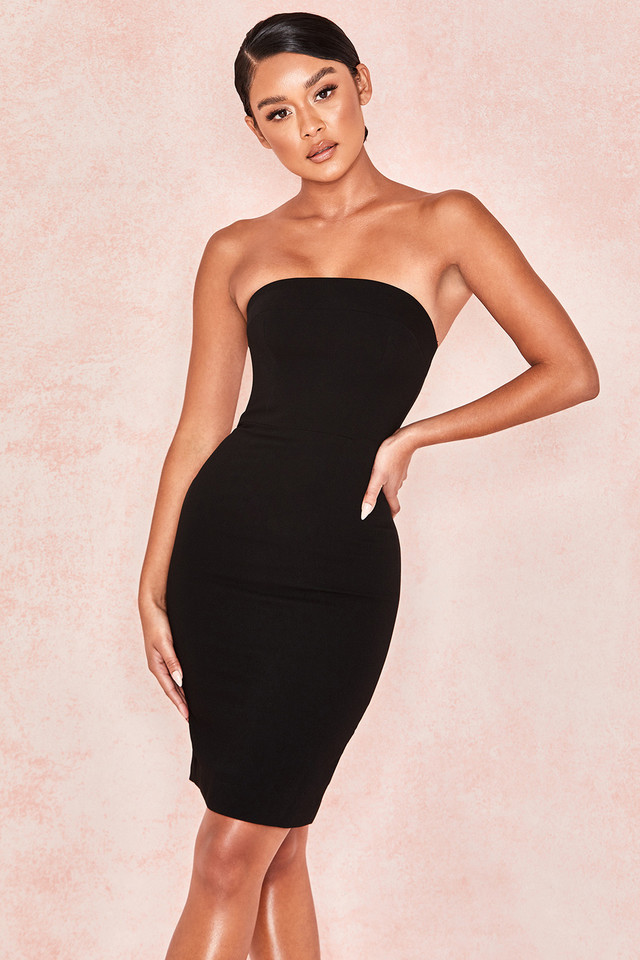 Rinah Black Strapless Stretch Crepe Mini Dress