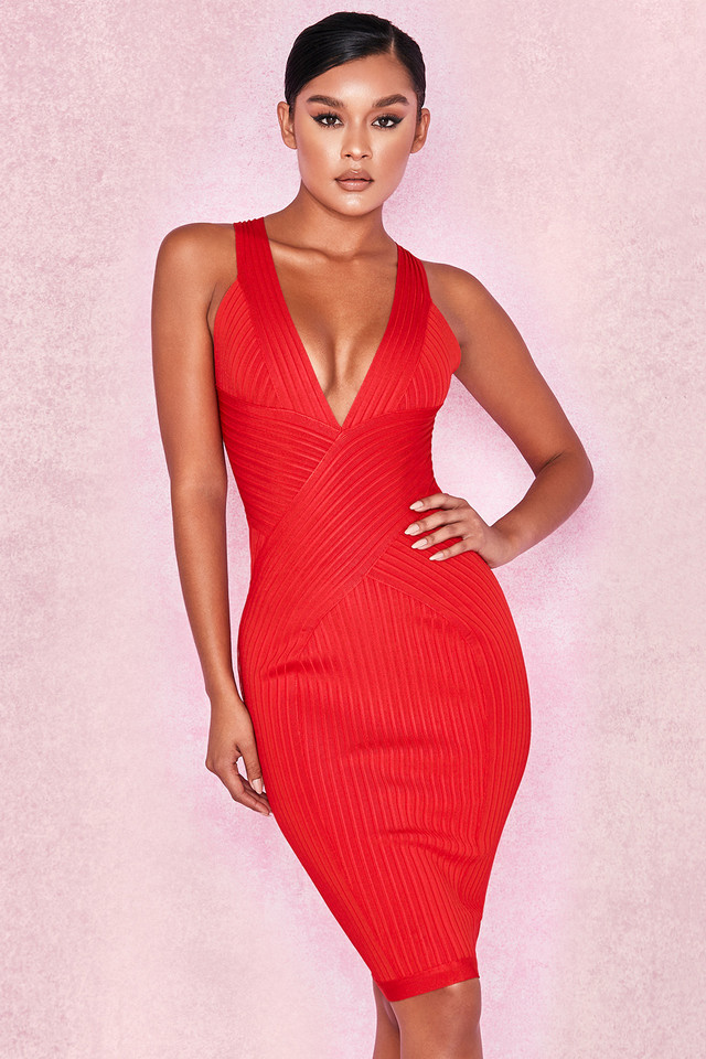 'Vivienne' Red Bandage Wrap Plunge Dress