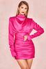 Giorgiana Hot Pink Satin Draped Mini Dress