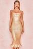 Fabrizia Gold Bandage Strapless Fluted-Hem Dress