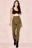 Inaya Khaki Sheen Twill Utility Trousers