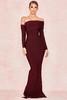 Nalani Wine Draped Shoulder Maxi Bandage Dress