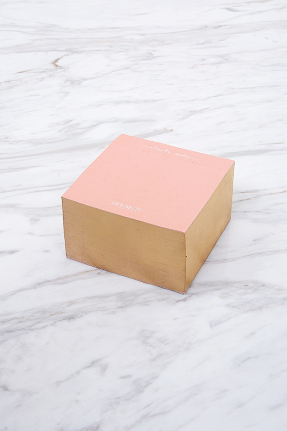 Sticky Notes Block Pink + Gold