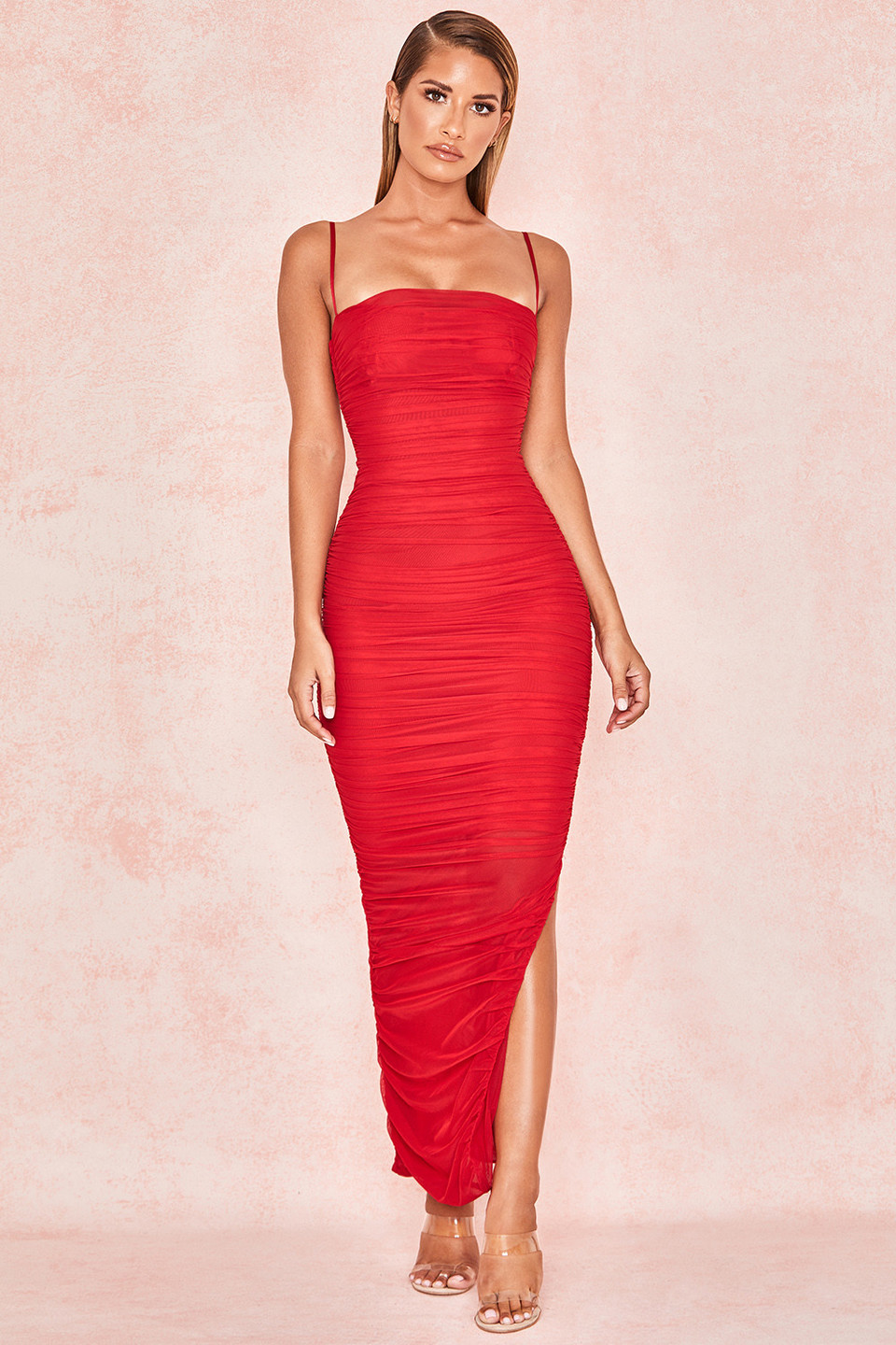 Fornarina Red Organza Mesh Maxi Dress