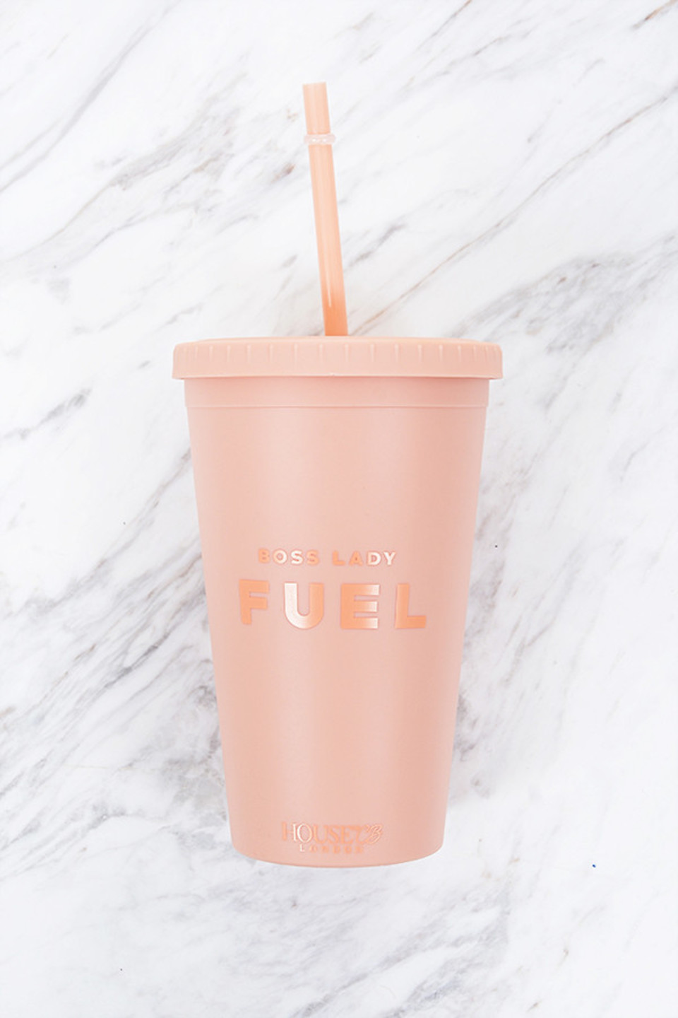 Fuel Pink Insulate Cup with Straw