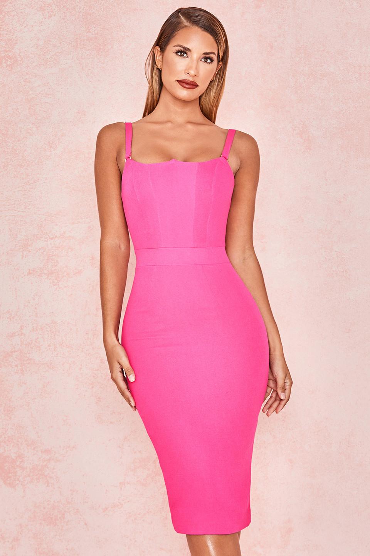 Tessa Pink Crepe Bodice Dress