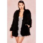Roberta Black Marabou Feather Coat