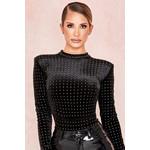 Cecilia Black Velvet Crystal Bodysuit