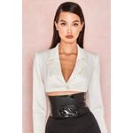 Miguelina Ivory Satin Cropped Jacket