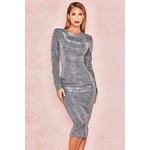 Paolina Silver Sparkle Long Sleeved Dress