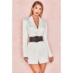 Perina Ivory Satin Blazer Dress