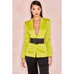 Fionella Chartreuse Satin Tailored Tux Jacket