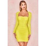 Valentina Chartreuse Long Sleeved Ruched Organza Mesh Dress
