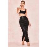 Yuli Black Wet Look Ruched Midi Skirt